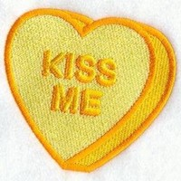 embroidered patch valentine conversation heart kiss me sew or glue on 3x3