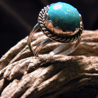 Turquoise, Natural,  Ladies Ring in Sterling Silver