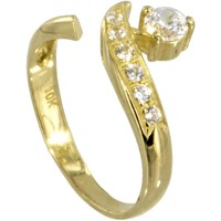 10kt GOLD Cubic Zirconia SOLITAIRE Toe Ring