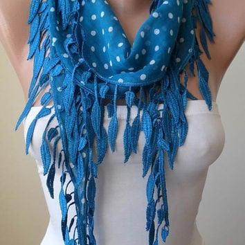 Blue and White Polka Dots Scarf with Blue Trim Edge