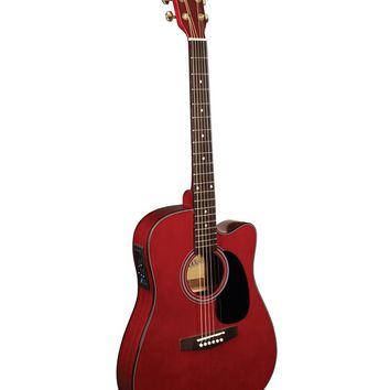 Indiana Thin Body Acoustic / Electric Guitar Classic Red