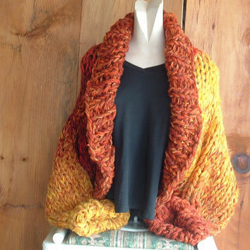 "Shawl collar shrug super chunky knit art jacket sweater cardigan ""When the Maples Turn Yellow"" large extra large women"