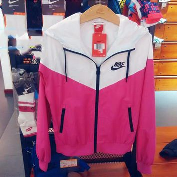 """NIKE"" Fashion Hooded Sweatshirt Zipper Cardigan Coat Jacket Windbreaker Pink"