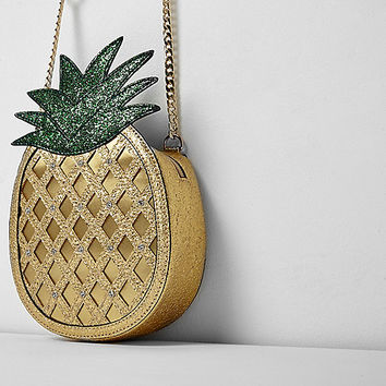 Girls gold glitter pineapple cross body bag