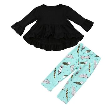 Abacaxi Kids Girls Long Sleeve Feather Pant Outfit 1-5Y