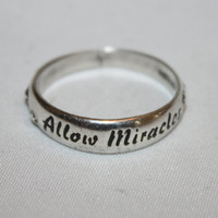 Sterling Ring Engraved Ring Band Allow Miracles  Vintage 1960s  Jewelry
