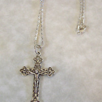 Cross Crucifix Charm on Serpentine Chain Necklace