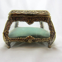 ORMOLU Rococo Style glass Jewelry Casket ornate jewelry box trinket box