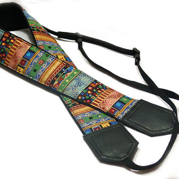 Camera strap.  Ethnic Camera strap.  dSLR Camera Strap. Camera accessories. Aztec Camera Strap. Nikon Canon camera strap.