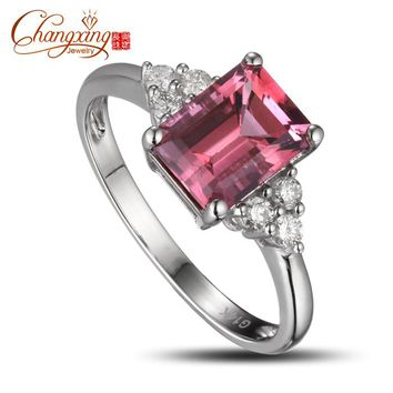 CAIMAO Women's 14k Gold Emerald Cut 1.98ct Pink Tourmaline Diamond Engagement Ring