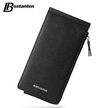 Business Men Multiple Credit Cards Holder Split Leather Wallets Ultra-thin Zipper Hasp Coin Clutch Purse