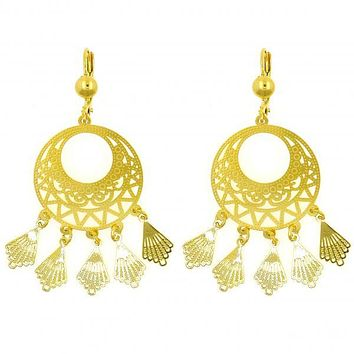 Gold Layered 02.211.0001 Chandelier Earring, Leaf and Filigree Design, Polished Finish, Golden Tone