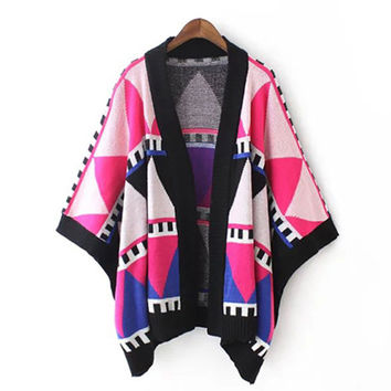 Multi Geometric Pattern Loose Cape Cardigan