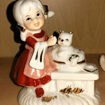 Vintage Little Girl & Kitty Cat Figurine 50s Collectibles Giftcraft KOREA Ceramic Statue Girls Room Decor White Kitten Knick Knack Gift Her
