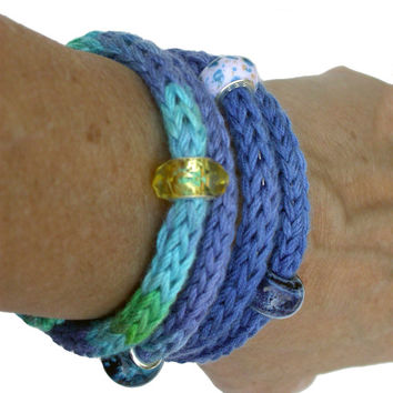 Knit Wrap Bracelet, Bangle, Beach Blues Variegated Bamboo Yarn with Memory Wire, European Style Beads Chic Fiber Jewelry, Summer Gift