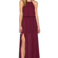 Show Me Your Mumu Heather Halter Dress in Merlot Crisp