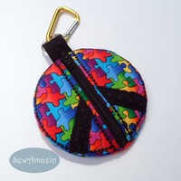 Puzzle Pieces Peace Sign Coin Purse, Key Fob, Black Zipper