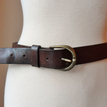 Vintage Dark Tan Belt / Leather Boho Dark Tan Belt / Retro Vinatge Belt (M/L)