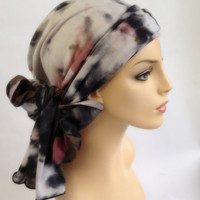 Mauve Turban, Head Wrap, Chemo Hat, Alopecia Head Scarf, Olive Green, Gray, Boho, Gypsy