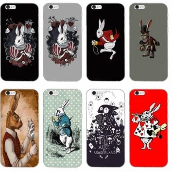 rabbit alice in wonderland Slim Silicone Soft phone case For iPhone 4 4s 5 5s 5c SE 6 6s plus 7 7plus 8 8plus X