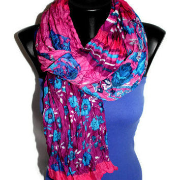Multi Pattern Scarf -  Purple Floral Scarf - Polka Dot Scarf - Shawl with Stripes - Trendy Fabric Scarf - Spring Trends - Gift Idea