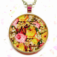Rose Floral Necklace, Flower Image, Circle Pendant, Nature Inspired, Plant Jewelry, Botanical Necklace, Pink Blossom, Yellow Roses, Gift