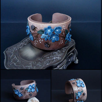 Flower bracelet, polymer clay cuff bracelet, brown and blue color, leather emitation