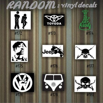 RANDOM vinyl decals - 172-180 - vinyl stickers - car decal - custom sticker - car window sticker - guys stickers - funny decals