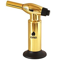 "Creme Brulee Culinary Kitchen Torch - Cooking Torch & Multifunction Butane Torch Lighter - Intense Adjustable Jet Flame (Up to 2400 F) - Includes Safety Lock, Piezo Ignition, and Quick Refill System - 10"" Gold"