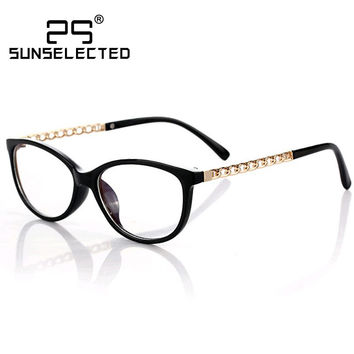 Vintage Retro Glasses Women Original Brand Designer 2016 New Fashion Gold Metal Crosslink Jacket Frames Eyewear G158
