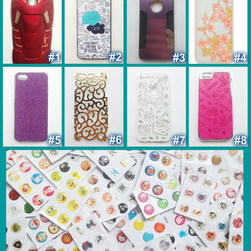 iPhone5 Hard Back Cases + Home Button Stickers Lot (Ironman-Avengers-The Fault in Our Stars-Floral-Blingy-Bears-Leather)