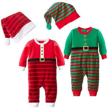 Cute Christmas Infant Romper Fashion Baby Boy Xmas Jumpsuit Baby Girl Striped Clothes Toddler Festive Autumn Outfits