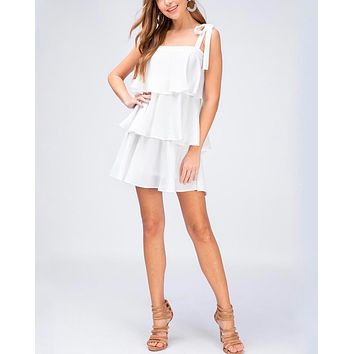 Tiered Ruffle Square Neck Mini Dress in Off White
