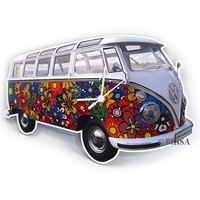 VW Bus Wall Clock - Flower Power