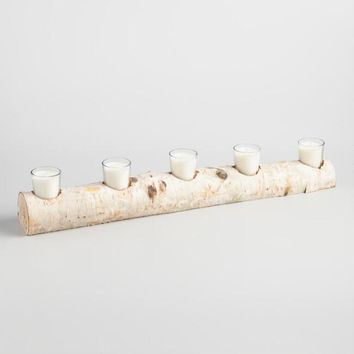 5 Votive Candle Birch Branch Centerpiece