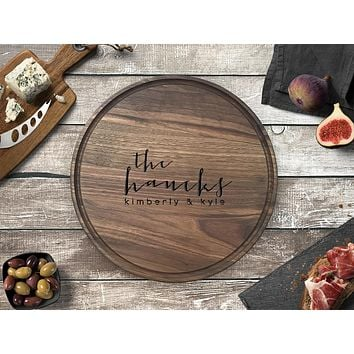 Personalized Engraved Round Cutting Board, Walnut Wood - CB01