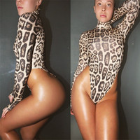 2016 Sexy Top Leopard Women Bodysuit Long Sleeve Turtleneck Jumpsuits Leotard Overalls Enteritos Mujer Club Wear Bodycon Rompers