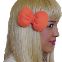Mini Minnie Mouse Poofy Hair Bow Clip in Orange