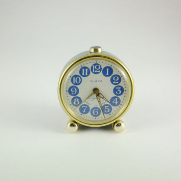 SALE Working Vintage Russian Mechanical Alarm Clock Slava from Soviet Union Period 11 Jewels Blue Grey, CCCP