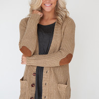 Long Sleeve Sweater Cardigan with Elbow Patches - Camel