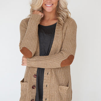 Long Sleeve Sweater Cardigan with Elbow from Magnolia Boutique