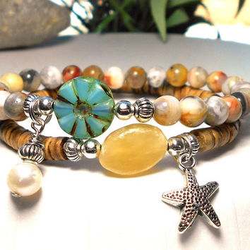 Ocean Bracelet with Freshwater Pearl and Starfish Charms