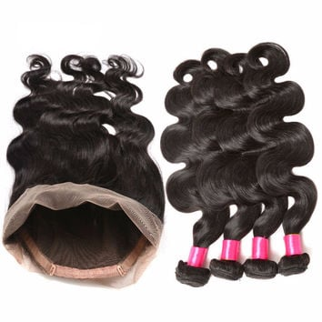 Body Wave Brazilian Pre Plucked 360 Frontal With 4 Bundles