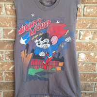 Mighty Mouse cut tank top// super hero