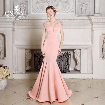 2017 Pink Mermaid Long Evening Dresses Sexy Backless Deep V Neck Stretchable Satin with Beading Prom Dress for Party