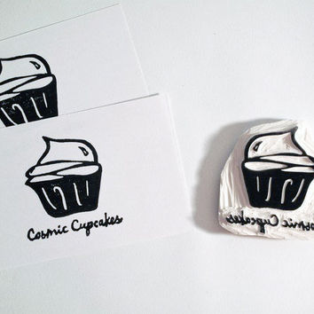 Handcarved Rubber Stamp with Your Logo/Image  Logo by LetterKay