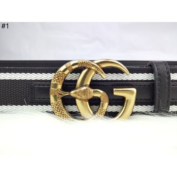 GUCCI Tide brand fashion wild double G retro classic embossed smooth buckle belt #1