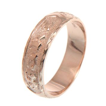 SOLID 14K ROSE GOLD CUSTOM MADE HAWAIIAN PLUMERIA SCROLL RING RAISED LETTER 6MM