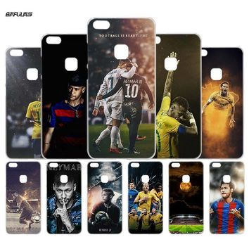 BiNFUL Soccer player Neymar 10 Clear Hard Case Cover for Huawei P Smart P10 P9 P8 Lite 2017 honor8 Lite Mate 8 10 Lite 10Pro