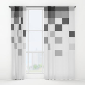 Gray Scale In Pixels Window Curtains by ARTbyJWP